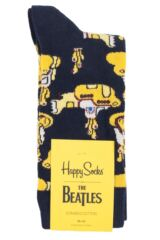 Mens and Ladies 1 Pair Happy Socks The Beatles Yellow Submarine Cotton Socks Packaging Image