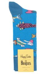 Happy Socks 1 Pair Beatles 50th Anniversary Yellow Submarine Fish & Whales  Cotton Socks Packaging Image