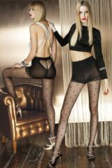 Ladies 1 Pair Trasparenze Berillo Heart Patterned Net Tights with Briefs Leading Image