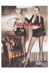 Ladies 1 Pair Trasparenze Berillo Heart Patterned Net Tights with Briefs Product Shot