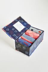 Ladies 4 Pair Thought Sashiko Bamboo and Organic Cotton Socks In Gift Box Leading Image