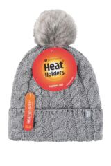 Ladies 1 Pack Heat Holders Heat Weaver Cable Knit Pom Pom Hat Packaging Image