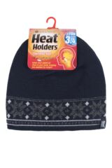 Mens 1 Pack Heat Holders 3.4 Tog Fairisle Hat In Navy Product Shot