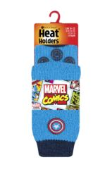 Kids 1 Pair SockShop Heat Holders Marvel's Captain America Shield Slipper Socks Packaging Image