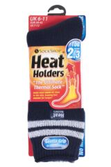 Mens 1 Pair Heat Holders For Football Fans Socks In Navy and White Packaging Image