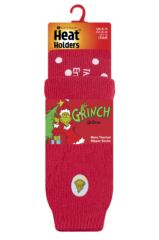 Mens 1 Pair SockShop Heat Holders The Grinch Slipper Socks Packaging Image