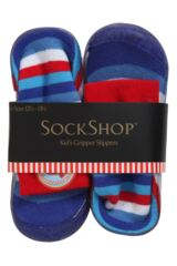 Boys 1 Pair SockShop Striped Gripper Slipper Socks 25% OFF This Style Packaging Image