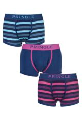 Mens 3 Pack Pringle Black Label Plain and Stripe Navy Cotton Boxer Shorts
