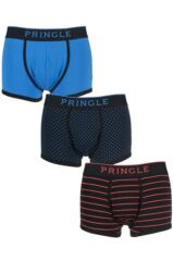 Mens 3 Pack Pringle Classic Plain, Striped and Square Boxer Shorts In Black and Blue