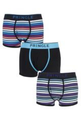 Mens 3 Pair Pringle Plain and Striped Cotton Boxer Shorts In Black and Blue