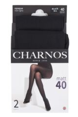 Ladies 2 Pair Charnos 40 Denier Tights With Comfort Top Packaging Image