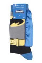 Mens 1 Pair SOCKSHOP Batman Cape Socks Packaging Image