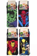 Kids 4 Pair SockShop Marvel Comics Mix Hulk, Spider-Man, Iron Man and Wolverine Socks Packaging Image