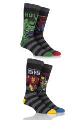 Mens 4 Pair SockShop Marvel Comics Mix Hulk, Spider-Man, Iron Man and Wolverine Socks
