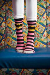 Ladies 3 Pair SockShop Batman / Batgirl Striped, Spotty and All Over Motif Cotton Socks Leading Image