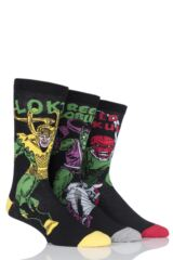 Mens 3 Pair SockShop Marvel Villains Green Goblin, Red Skull and Loki Cotton Socks