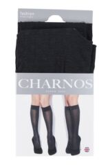 Ladies 2 Pair Charnos Chequered and Stripe Opaque Knee High Socks Packaging Image