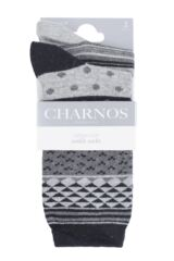 Ladies 2 Pair Charnos Cotton Geo Print and Stripes Socks Packaging Image