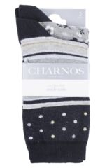 Ladies 2 Pair Charnos Stripe and Floral Cotton Socks Packaging Image