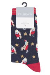 Ladies 1 Pair Charnos Cotton Christmas Robins Socks Packaging Image