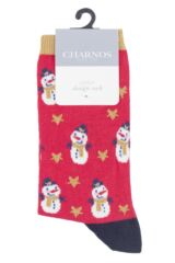 Ladies 1 Pair Charnos Cotton Christmas Snowman Socks Packaging Image