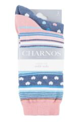 Ladies 2 Pair Charnos Heart and Stripe Socks Packaging Image