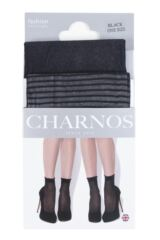 Ladies 2 Pair Charnos Trouserwear Stripe and Net Ankle High Socks Product Shot