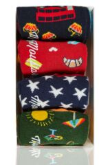 Mens 4 Pair Moustard World Cities Cotton Socks In Gift Box Leading Image
