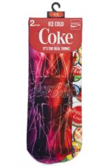 Ladies 2 Pair Coca Cola Bottle and Bottle Tops Printed Socks Packaging Image