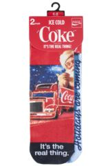 Ladies 2 Pair Coca Cola Holidays Are Coming Iconic Truck Printed Socks Packaging Image