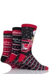 Mens 3 Pair Coca Cola Santa Christmas Cotton Socks