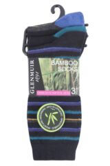 Ladies 3 Pair Glenmuir Stripe and Plain Bamboo Socks Packaging Image