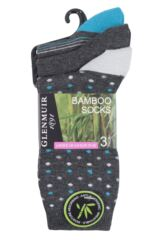 Ladies 3 Pair Glenmuir Fine Striped and Dot Bamboo Socks Product Shot