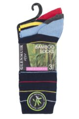 Ladies 3 Pair Glenmuir Bright Striped and Plain Bamboo Socks Packaging Image