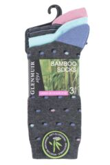 Ladies 3 Pair Glenmuir Dots and Stripes Bamboo Socks Packaging Image