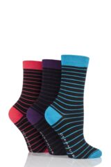 Ladies 3 Pair Glenmuir Fine Stripe Bamboo Socks