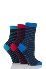 Ladies 3 Pair Glenmuir Fine Stripe Bamboo Socks