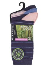 Ladies 3 Pair Glenmuir Fine Stripe Contrast Heel and Toe Bamboo Socks Product Shot