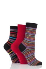 Ladies 3 Pair Glenmuir Varied Stripe and Plain Bamboo Socks