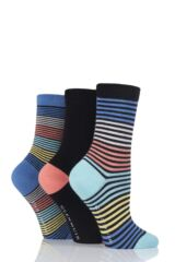 Ladies 3 Pair Glenmuir Fine Stripe and Plain Bamboo Socks