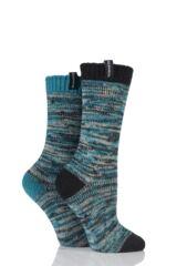 Ladies 2 Pair Glenmuir Space Dyed Contrast Heel and Toe Merino Wool Blend Boot Socks