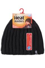 Mens 1 Pack Heat Holders 3.4 Tog Heatweaver Yarn Hat In Black Packaging Image