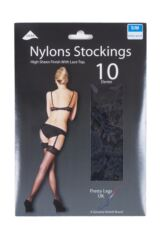 Ladies 1 Pair Pretty Legs Classic Nylons Lace Top Stockings Packaging Image