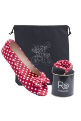 Ladies 1 Pair Rollasole Deluxe Range Dotty For You Red Polka Dot Shoes Packaging Image