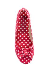Ladies 1 Pair Rollasole Deluxe Range Dotty For You Red Polka Dot Shoes Leading Image