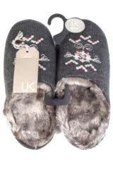 Ladies 1 Pair Urban Knit Floral Folk Hand Sewn Slippers 75% OFF