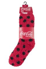 Ladies 2 Pair Coca Cola Spots and Plain Cosy Socks Packaging Image