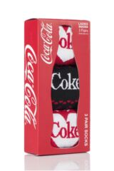 Ladies 3 Pair Coca Cola Heart Design Cotton Socks In Gift Box Packaging Image