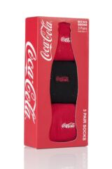 Mens 3 Pair Coca Cola Striped Foot Cotton Socks In Gift Box Product Shot