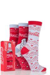 Ladies 3 Pair Coca Cola Polar Bear Design Cotton Socks In Gift Box